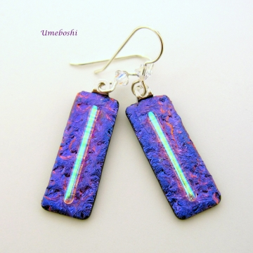 Razzle Dazzle Dangling Dichroic Fused Glass Earrings in Outrageous Purple