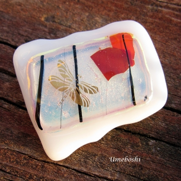 Fall Dragonfly Dichroic Glass Handmade Brooch One-of-a-kind