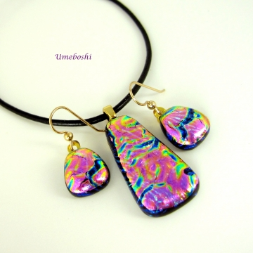 Plum Dichroic Glass Jewelry Set