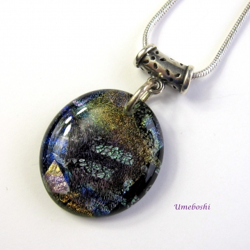 Rich Earth Tones Handmade Dichroic Fused Glass Cabochon Pendant