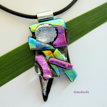 Abstract Handmade Dichroic Fused Glass Free Form Pendant-Multicolored