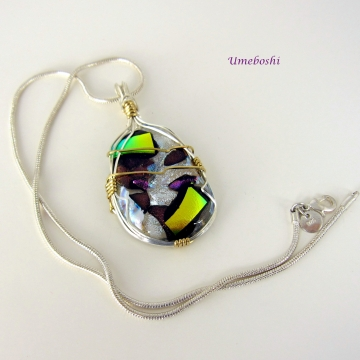 Argentium Sterling Silver Wire Wrapped Dichroic Pendant - Solomon's Treasure Dichroic Glass Cabochon Handmade Jewelry One-of-a-kind