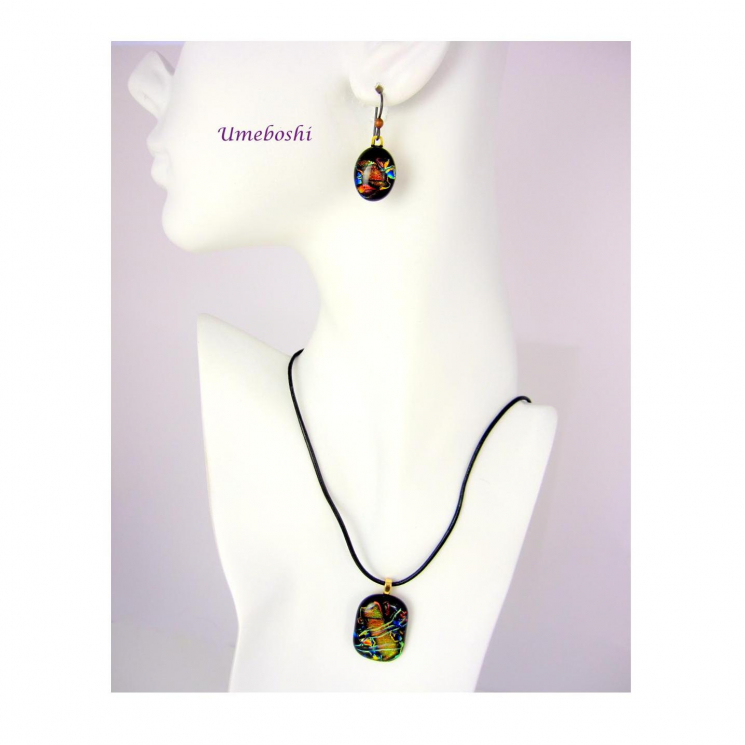 One-of-a-kind Dichroic Glass Earrings and Pendant Jewelry Set