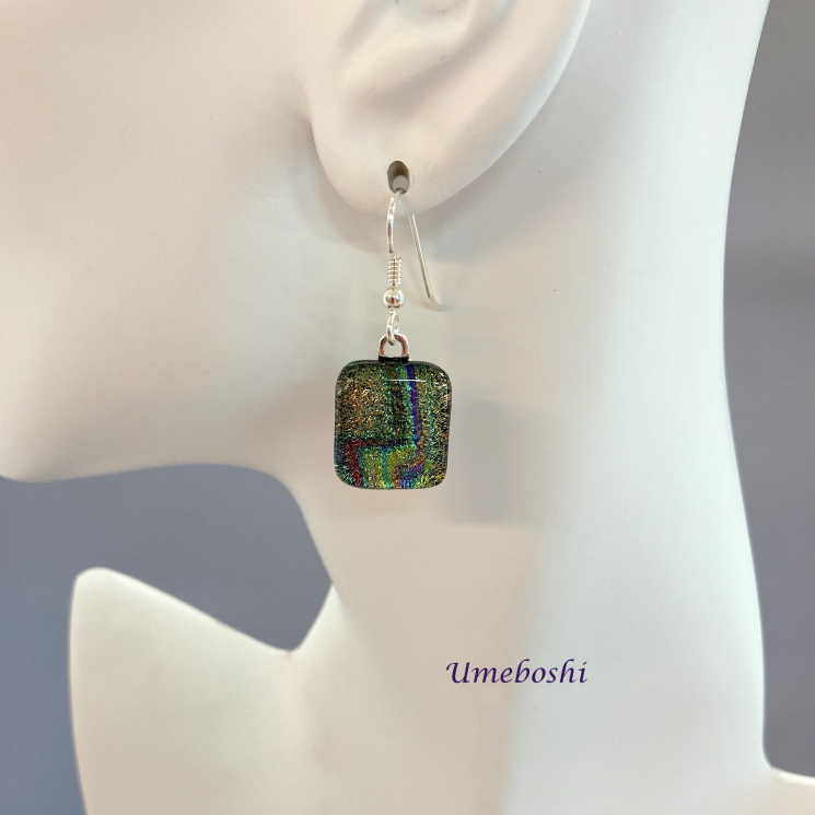 Square Dichroic Glass Dangle Earrings