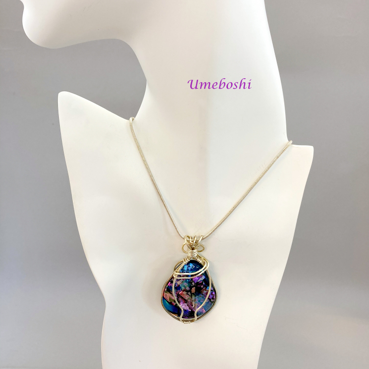 Argentium Wire Wrapped Dichroic Cabochon Necklace