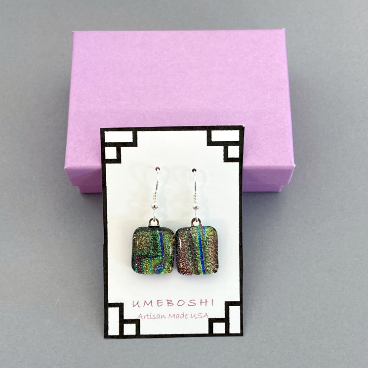 Dichroic Glass Dangle Earrings By Umeboshi Jewelry Designs