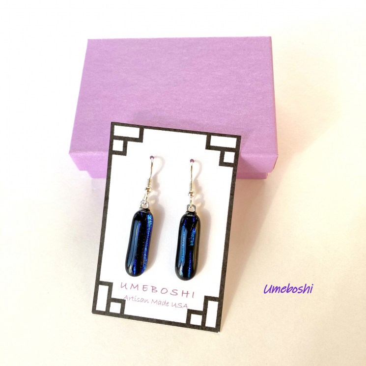 Dichroic glass blue dangle earrings