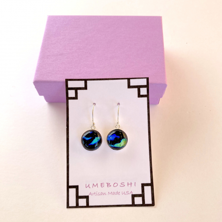 Blue and Green Dichroic Glass Drop Earrings