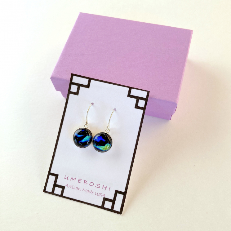 Dichroic Fused Glass Earrings by Umeboshi Jewelry Designs