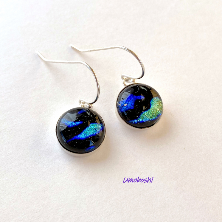 Blue and Green Dichroic Glass Earrings