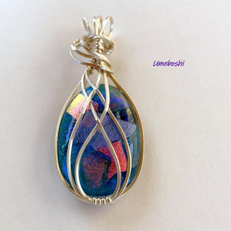 Sterling Silver Wire Wrapped Dichroic Glass Jewelry