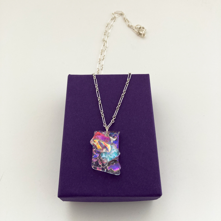 Clear Day with Rainbows Handmade Clear Dichroic Glass Jewelry Pendant