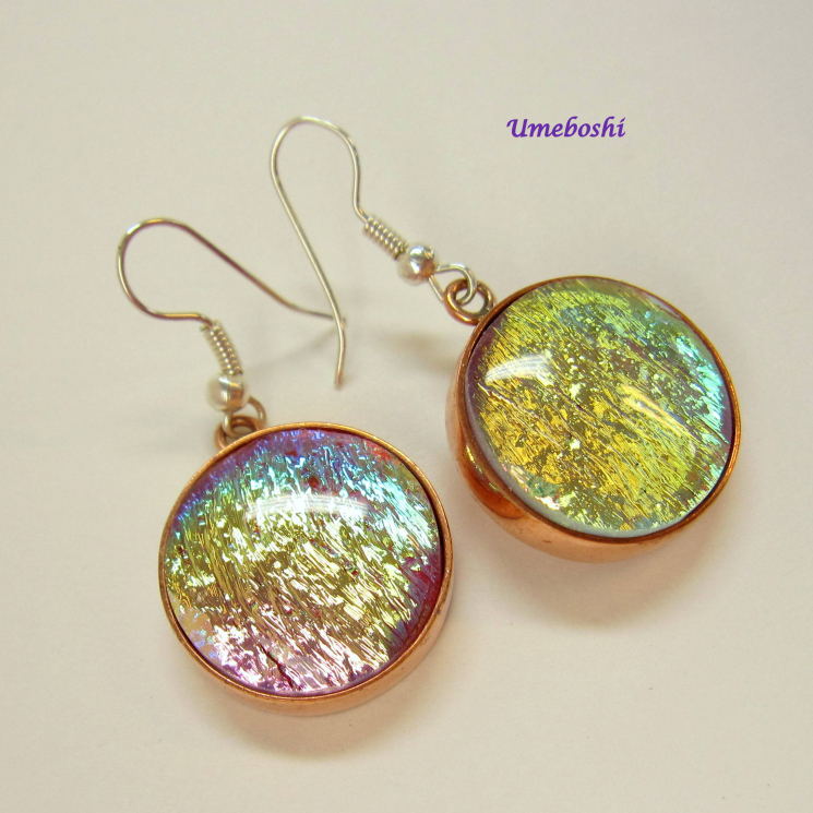 Round Cabochon Dangle Earrings
