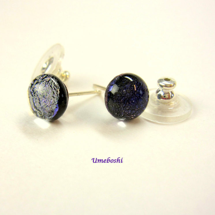 purple dichroic glass stud earrings