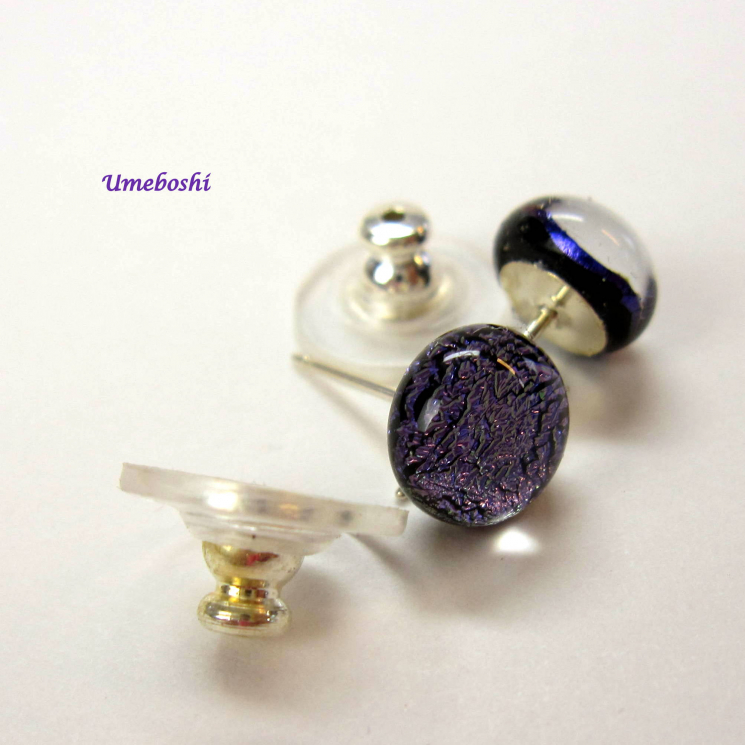 little purple dichroic glass post earrings