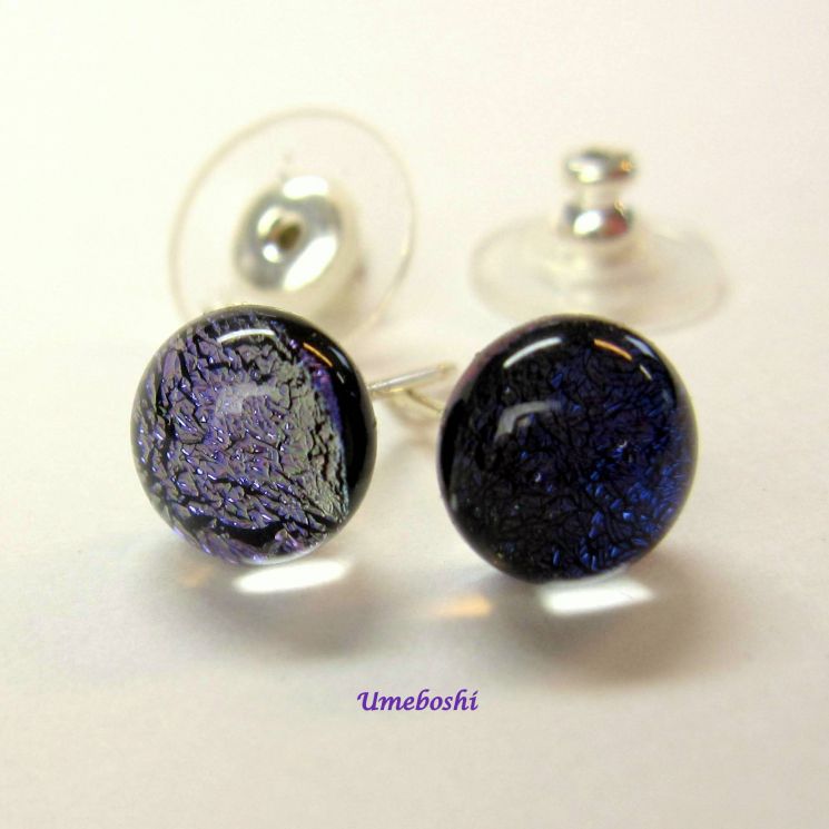 purple handmade dichroic post earrings