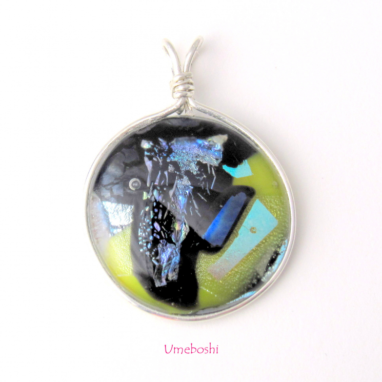 Unique handmade dichroic glass wire wrapped pendant