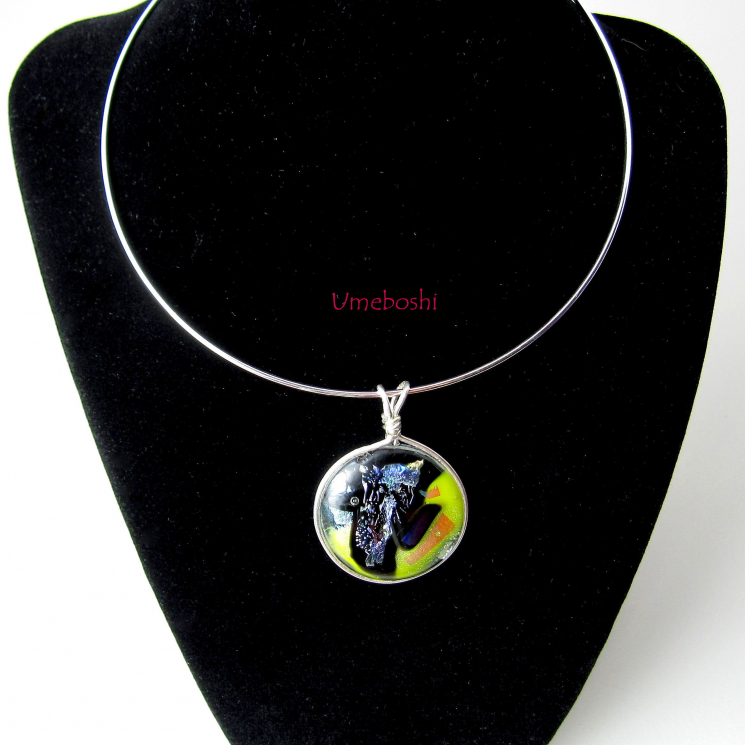 Original dichroic glass pendant in yellow, silver and black
