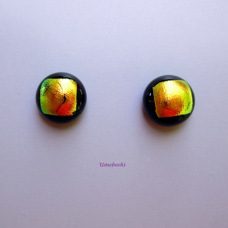 Small dichroic glass cabochon post earrings