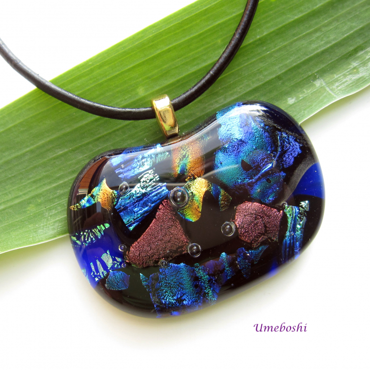 Deep Blue Reef Smooth Handmade Dichroic Glass Cabochon Pendant