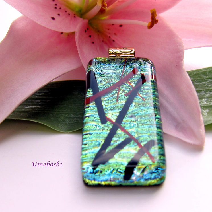 Kyoto Pond Handmade Dichroic Fused Glass Jewelry Pendant with Red and Black