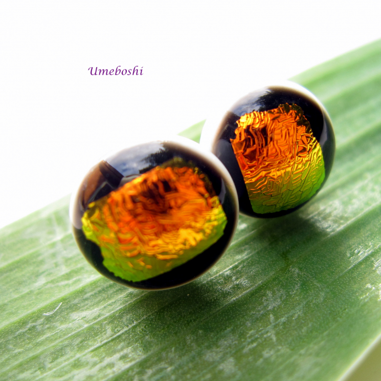 Brilliant Sunset Handmade Round Dichroic Glass Cabochon Post Earrings