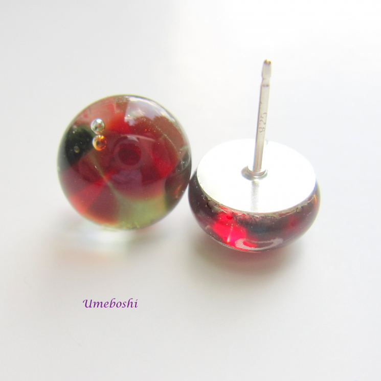 Red and Green Fused Glass Cabochon Post Earrings with Sterling Silver Posts