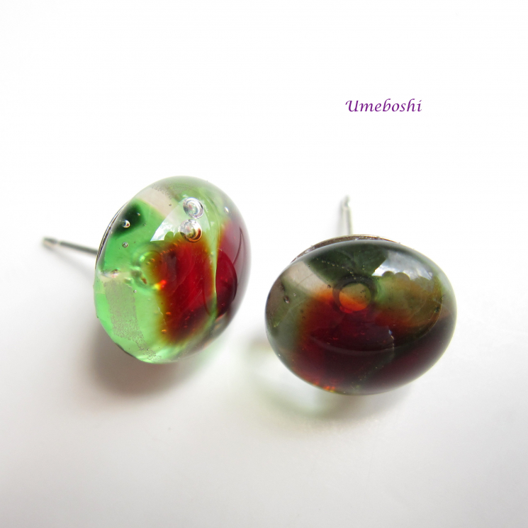 Rose Garden Rain Drops Handmade Fused Glass Post Earrings in Red and Green