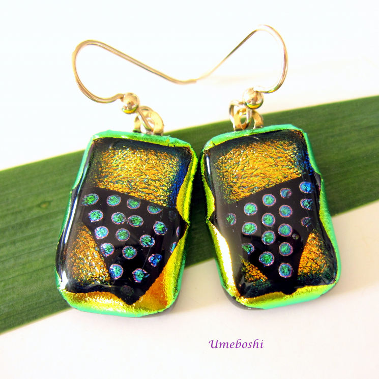 All that Jazz Dotted Handmade Dichroic Fused Glass Dangle Earrings