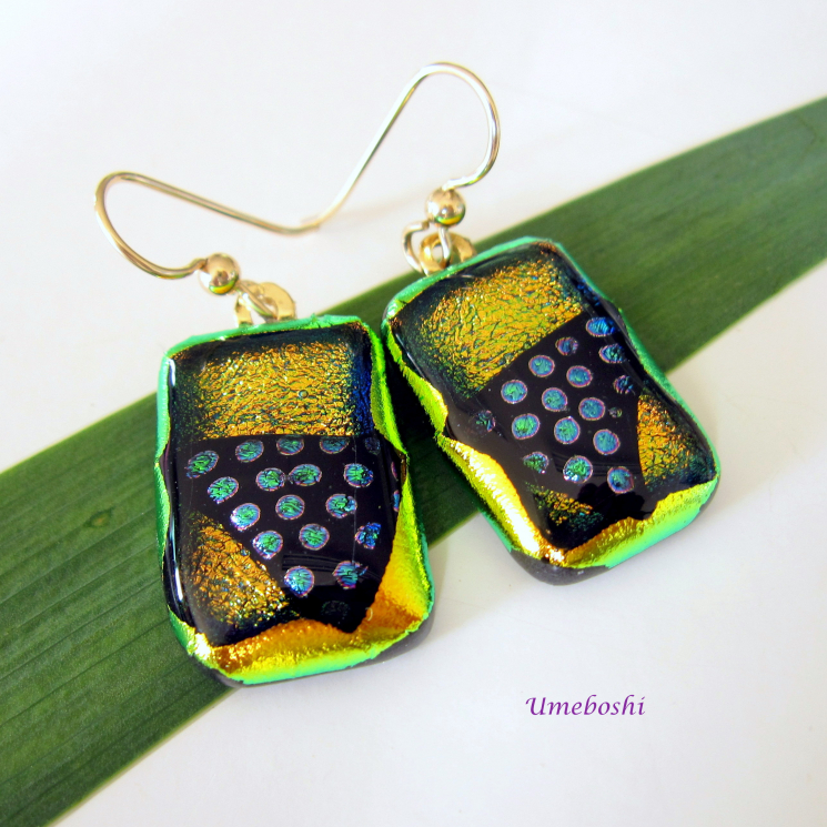 Dotted Dichroic Fused Glass Jewelry Earrings by Umeboshi