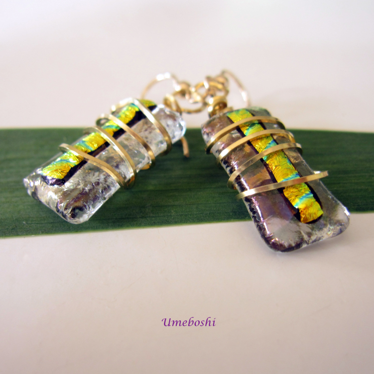 Captive Baubles Brass Wire Wrapped Handmade Dichroic Fused Glass Earrings