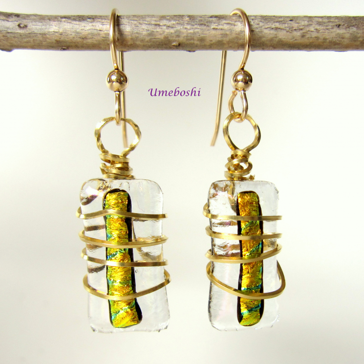 Brass Wire Wrapped Dichroic Glass Cabochon Earrings in Clear, Gold and Black