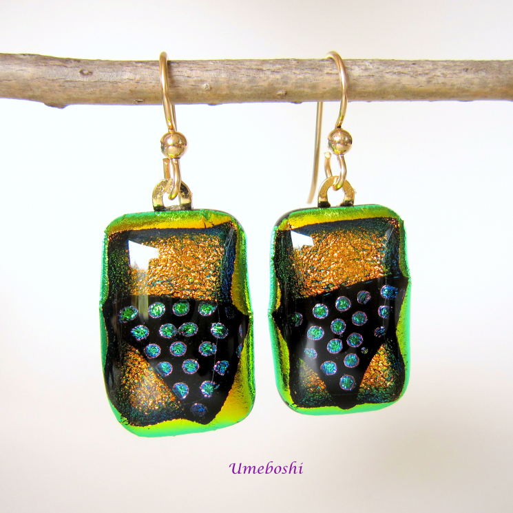 Dichroic Glass Handmade Drop Rectangular Earrings with Gold Filled Ear Wires