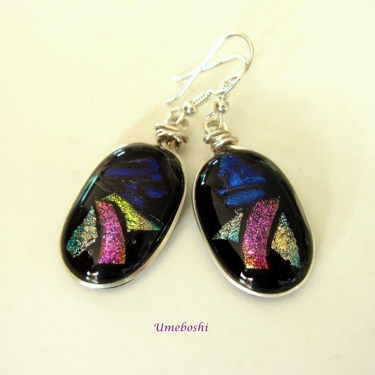 Morning Glory Argentium Silver Wire Wrapped Dichroic Glass Earrings