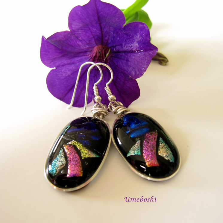 Dichroic glass argentium sterling silver dangle earrings
