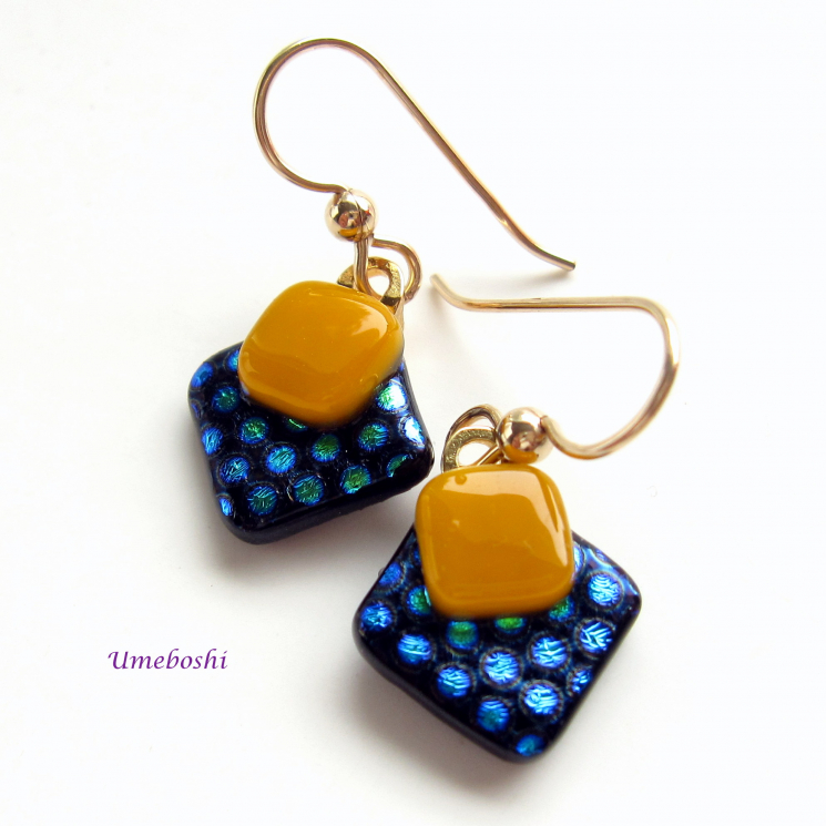 Yellow, Blue and Black Polka Dotted Dichroic Glass Earrings  Gold Filled Wires