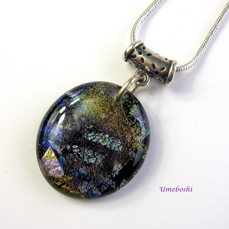 Rich Earth Tone Handmade Dichroic Fused Glass Cabochon Pendant Shown with Sterli