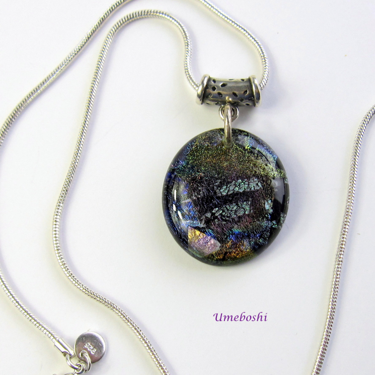 Handmade Dichroic Glass Earth Tones Flower Bail Pendant