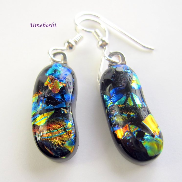 Colorful Autumn Landscape Handmade Dichroic Fused Glass Dangle Earrings