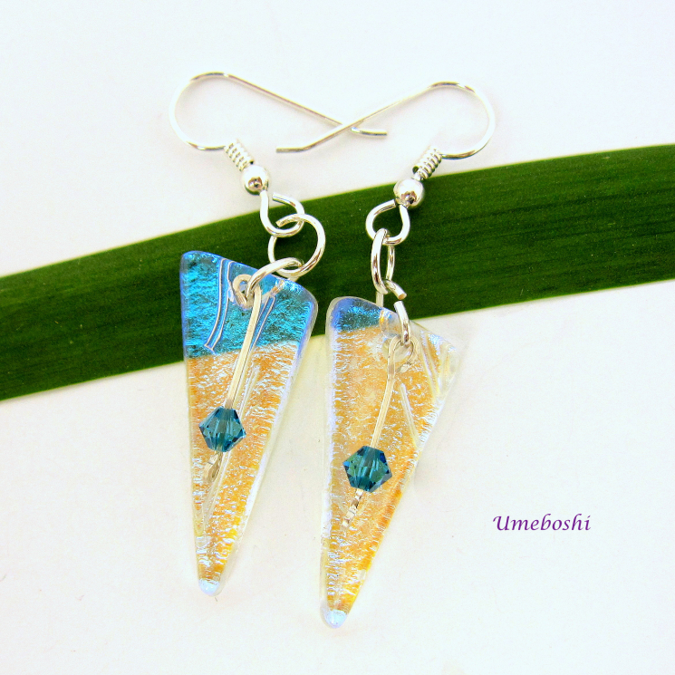 Handmade Dichroic Glass Drop Earrings with Blue Swarovsky Crystals