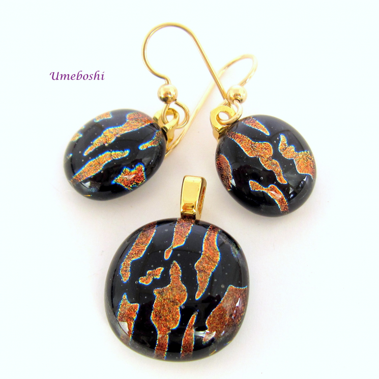 Fox Fire Handmade Dichroic Fused Glass Jewelry Earrings - Pendant Set