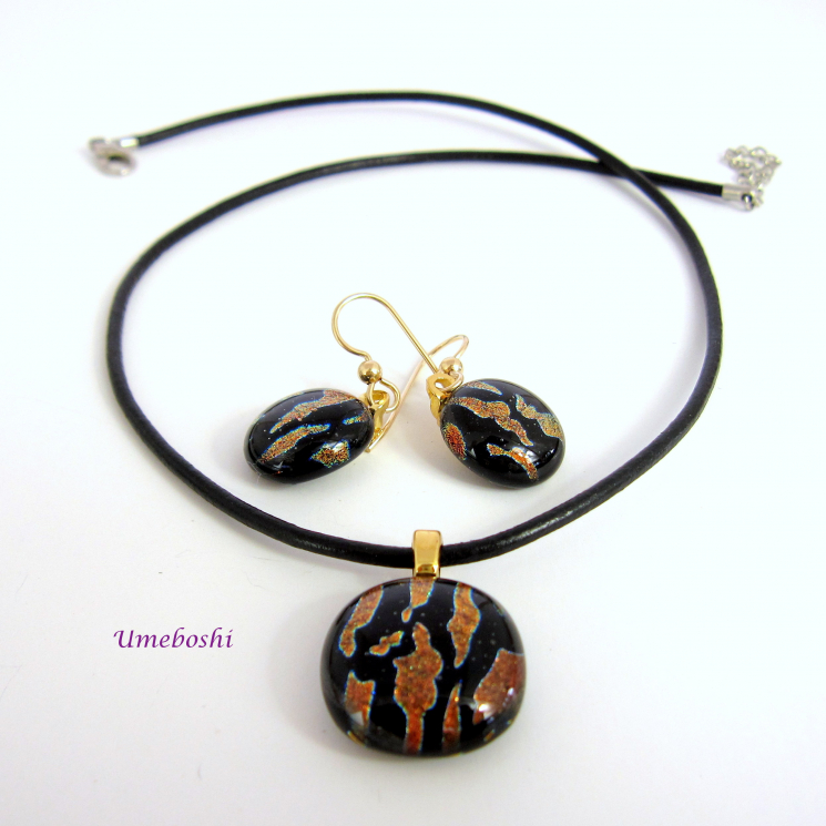 Handmade Dichroic Glass Cabochon Pendant and Earring Set in Back and Copper