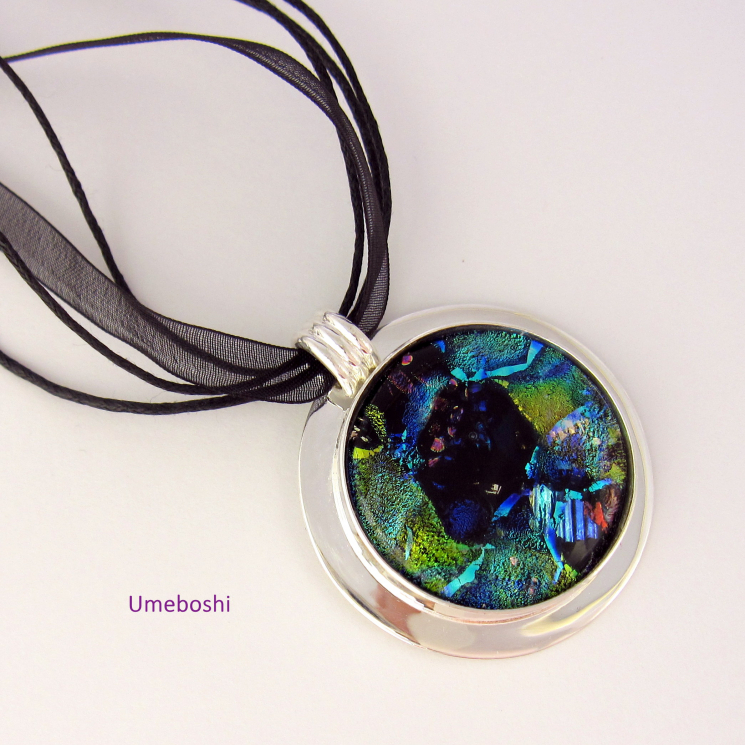 Large Shades of Blue and Green Dichroic Glass Cabochon Pendant