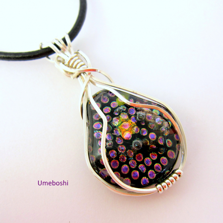 Silver Wire Wrapped Dichroic Glass Pendant