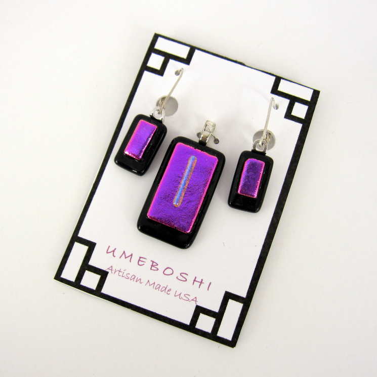 Unique handmade dichroic glass jewelry set