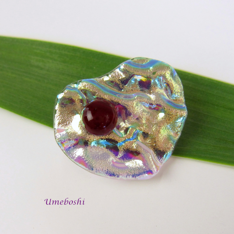 Handcrafted Dichroic Fused Glass Heart Pin with Ruby Cabochon