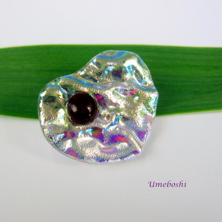 Textured Iridescent Dichroic Glass Heart Brooch Silver and Pastels
