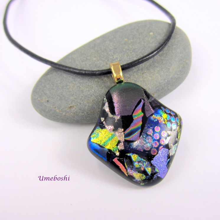 Handcrafted Unique Dichroic Glass Pendant by Umeboshi