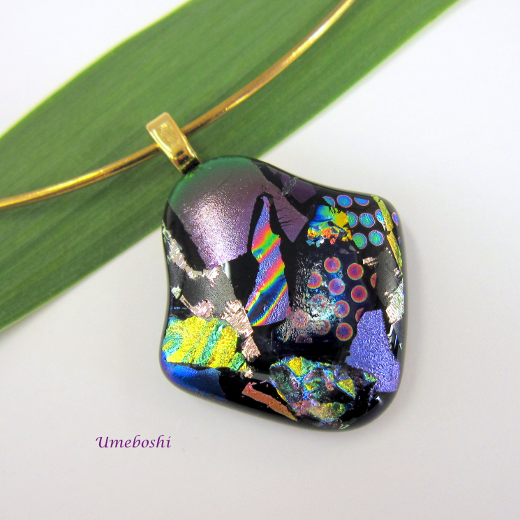 Brilliant Colors Dichroic Fused Glass Pendant with Unusual Shape