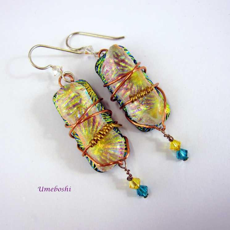 Wire Wrapped Dangle Earrings with Swarovski Caystals
